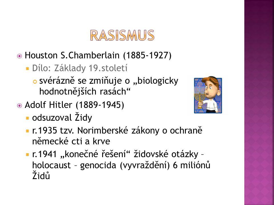 """ Houston S.Chamberlain (1885-1927)  Dílo: Základy 19.století svérázně se zmiňuje o """"biologicky hodnotnějších rasách""""  Adolf Hitler (1889-1945)  od"""