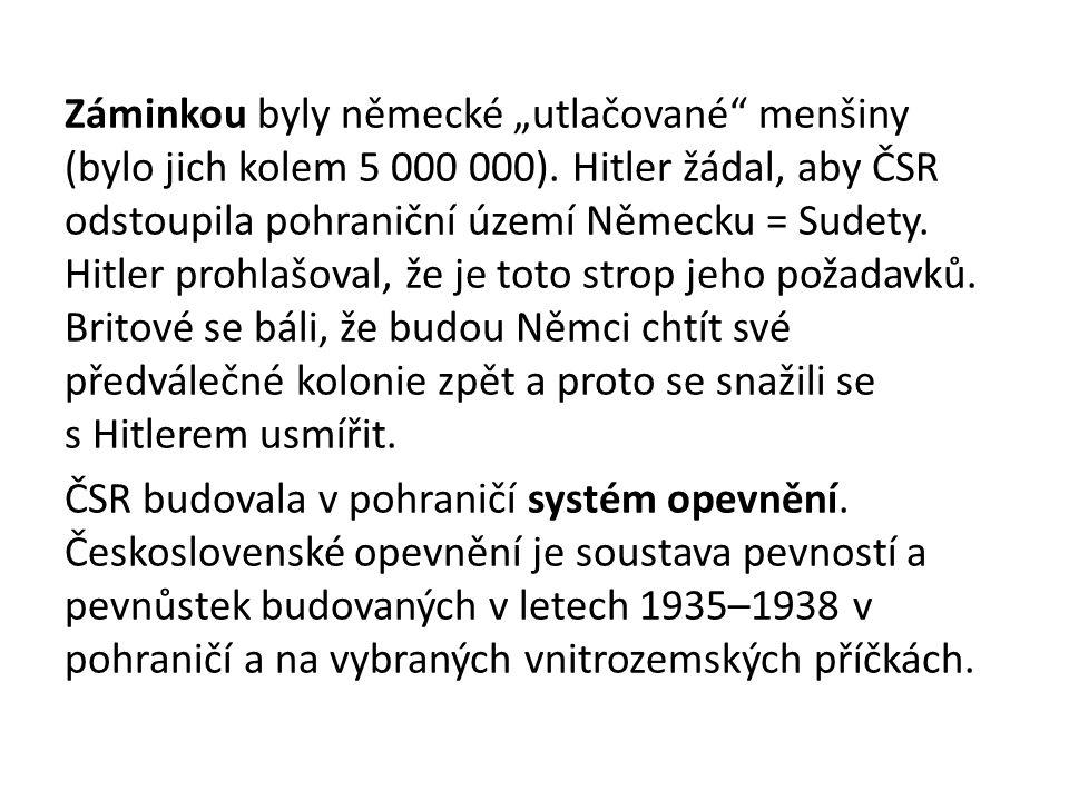 """Záminkou byly německé """"utlačované menšiny (bylo jich kolem 5 000 000)."""