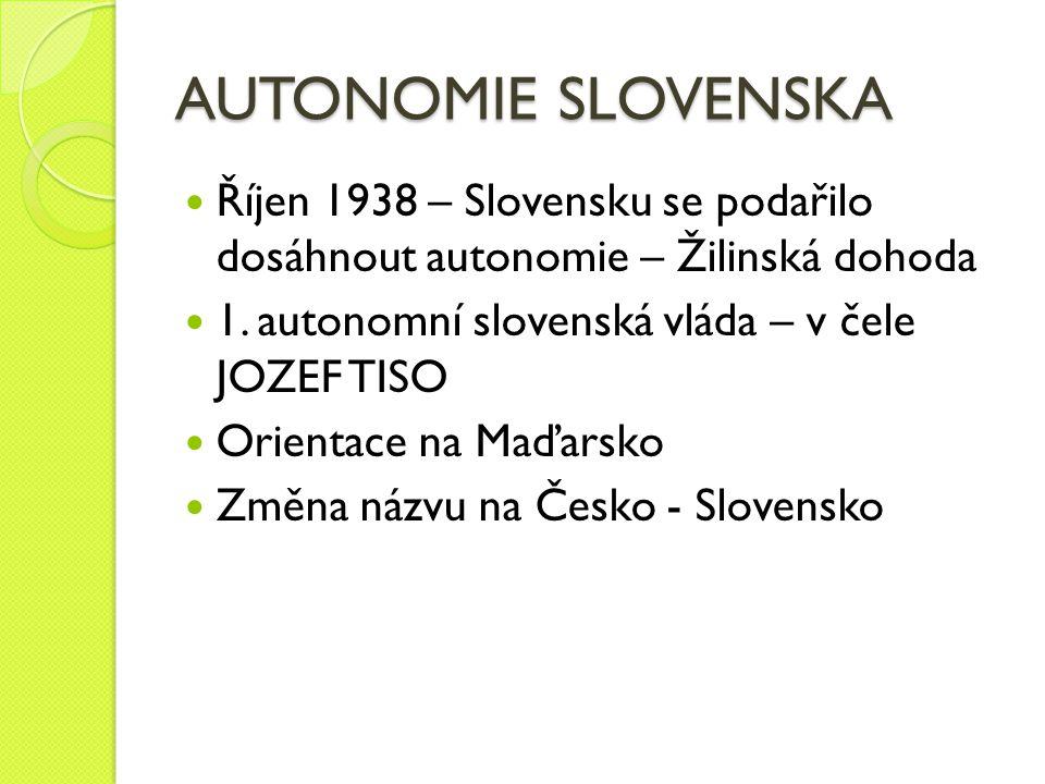 AUTONOMIE SLOVENSKA Říjen 1938 – Slovensku se podařilo dosáhnout autonomie – Žilinská dohoda 1. autonomní slovenská vláda – v čele JOZEF TISO Orientac