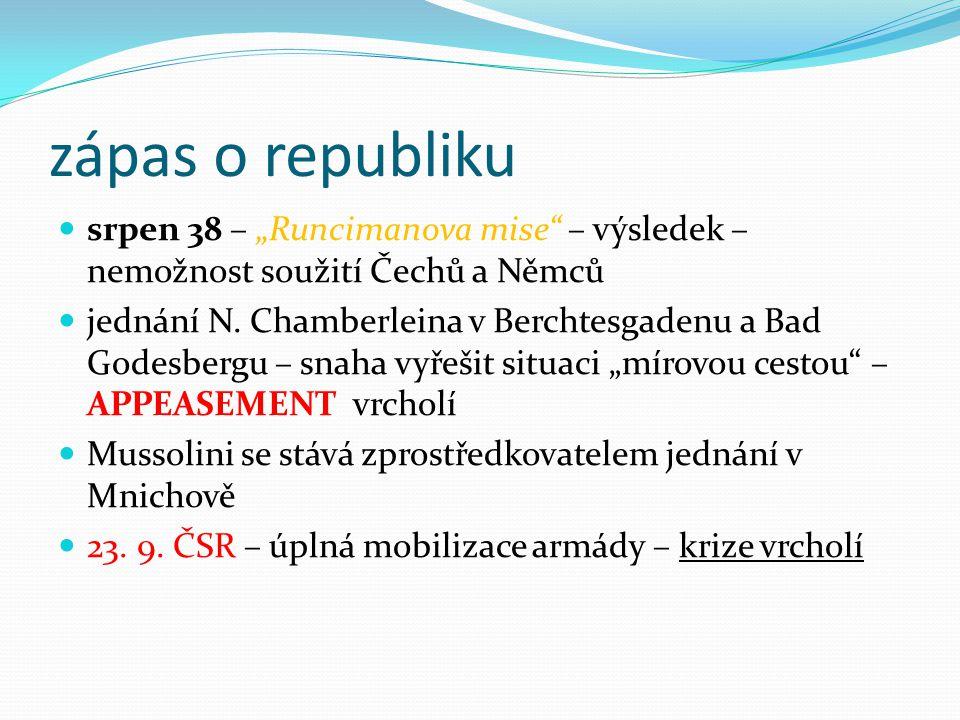 """zápas o republiku srpen 38 – """"Runcimanova mise – výsledek – nemožnost soužití Čechů a Němců jednání N."""