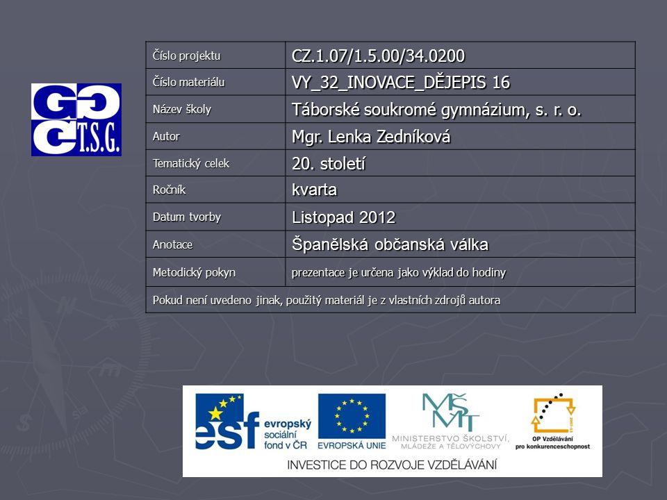 Číslo projektu CZ.1.07/1.5.00/34.0200 Číslo materiálu VY_32_INOVACE_DĚJEPIS 16 Název školy Táborské soukromé gymnázium, s. r. o. Autor Mgr. Lenka Zedn