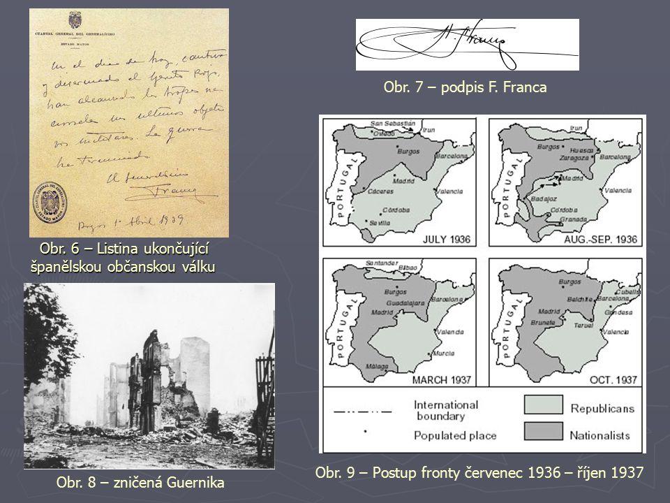 Obr. 6 – Listina ukončující španělskou občanskou válku Obr. 6 – Listina ukončující španělskou občanskou válku Obr. 7 – podpis F. Franca Obr. 8 – zniče
