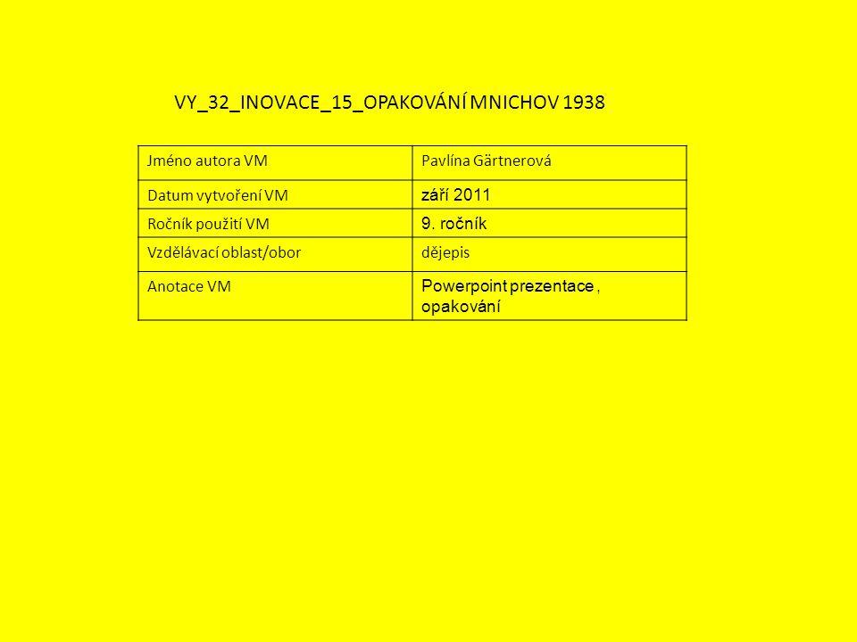 Jméno autora VMPavlína Gärtnerová Datum vytvoření VM září 2011 Ročník použití VM 9.