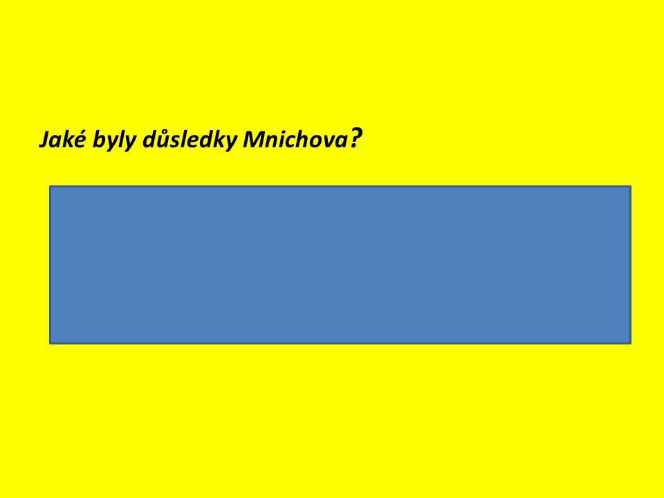 Jaké byly důsledky Mnichova ?  ztráta území (30%) a obyvatelstva (33%)  ekonomické ztráty (komunikace, továrny, naleziště uhlí)  morální ztráty