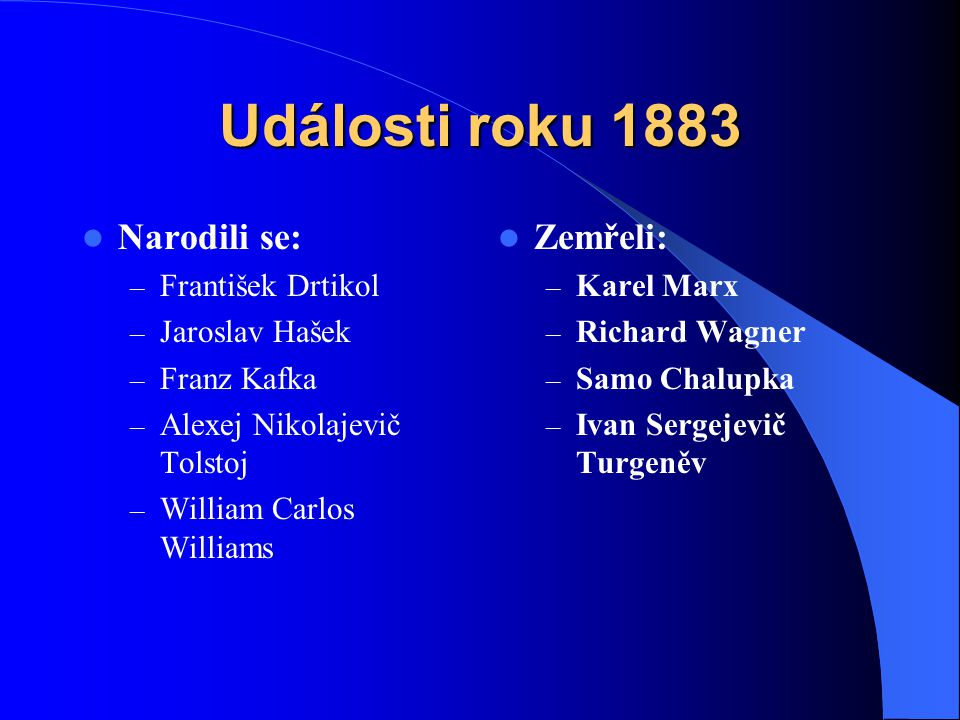 Události roku 1883 Narodili se: – František Drtikol – Jaroslav Hašek – Franz Kafka – Alexej Nikolajevič Tolstoj – William Carlos Williams Zemřeli: – K