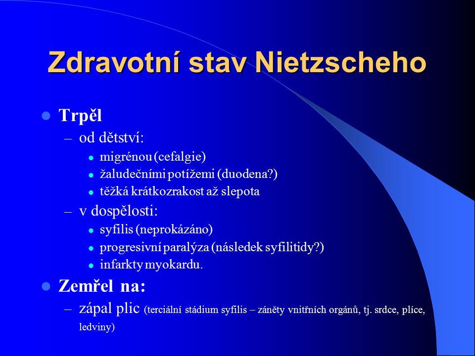 Zdravotní stav Nietzscheho Trpěl – od dětství: migrénou (cefalgie) žaludečními potížemi (duodena?) těžká krátkozrakost až slepota – v dospělosti: syfi