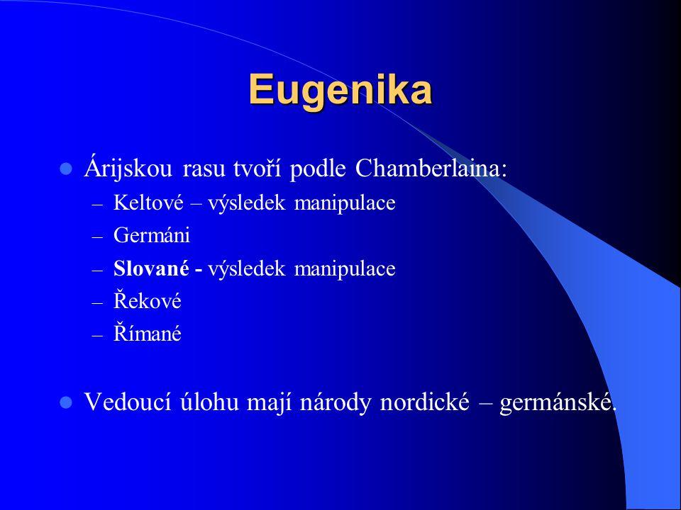 Eugenika Árijskou rasu tvoří podle Chamberlaina: – Keltové – výsledek manipulace – Germáni – Slované - výsledek manipulace – Řekové – Římané Vedoucí ú