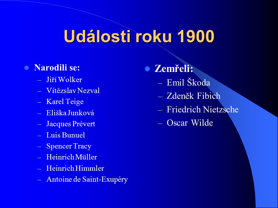 Události roku 1900 Narodili se: – Jiří Wolker – Vítězslav Nezval – Karel Teige – Eliška Junková – Jacques Prévert – Luis Bunuel – Spencer Tracy – Hein