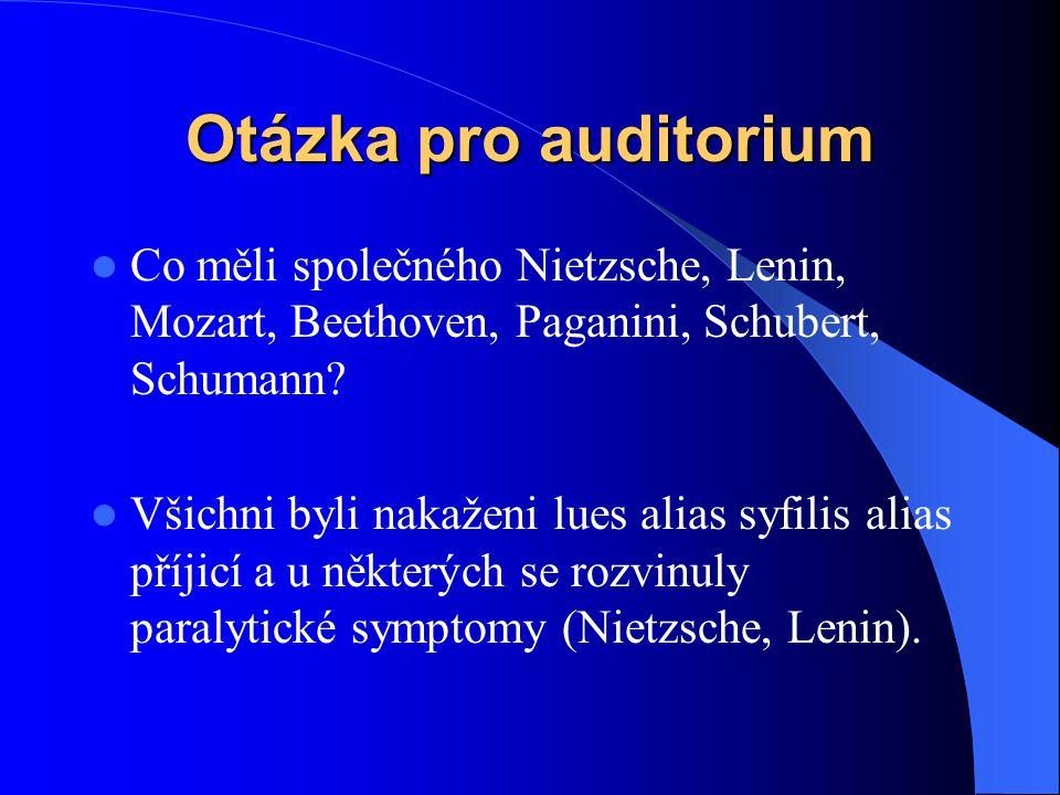 Otázka pro auditorium Co měli společného Nietzsche, Lenin, Mozart, Beethoven, Paganini, Schubert, Schumann? Všichni byli nakaženi lues alias syfilis a