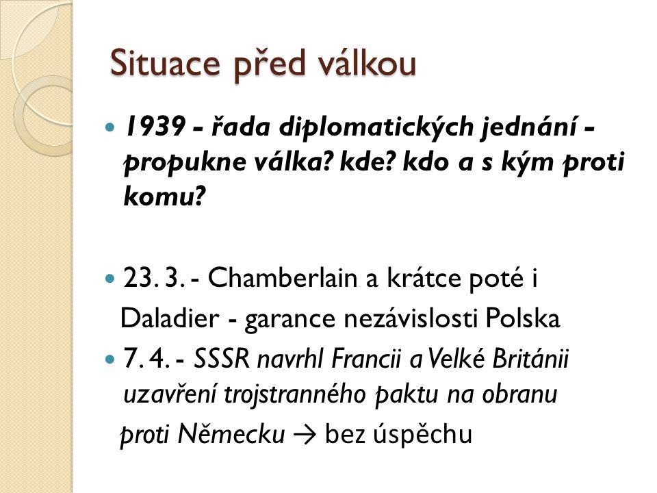 Situace před válkou 1939 - řada diplomatických jednání - propukne válka.