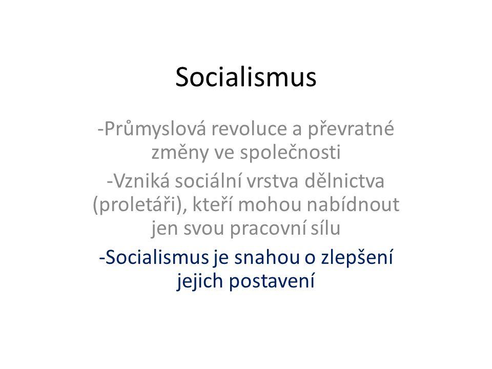 Socialismus -Průmyslová revoluce a převratné změny ve společnosti -Vzniká sociální vrstva dělnictva (proletáři), kteří mohou nabídnout jen svou pracov