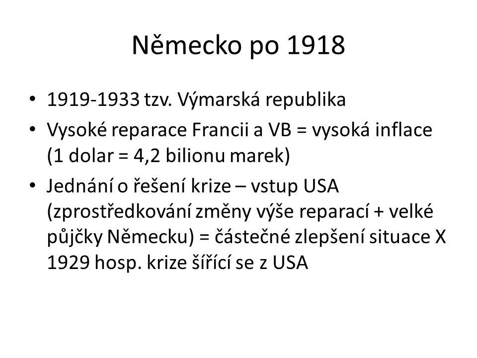 Německo po 1918 1919-1933 tzv. Výmarská republika Vysoké reparace Francii a VB = vysoká inflace (1 dolar = 4,2 bilionu marek) Jednání o řešení krize –