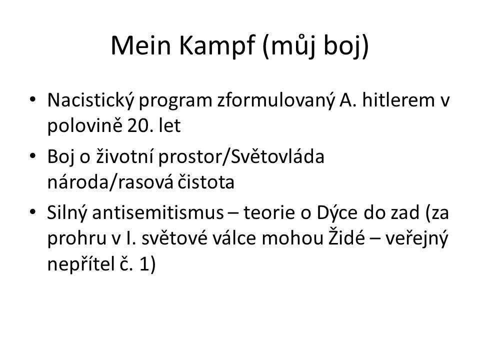 Mein Kampf (můj boj) Nacistický program zformulovaný A. hitlerem v polovině 20. let Boj o životní prostor/Světovláda národa/rasová čistota Silný antis