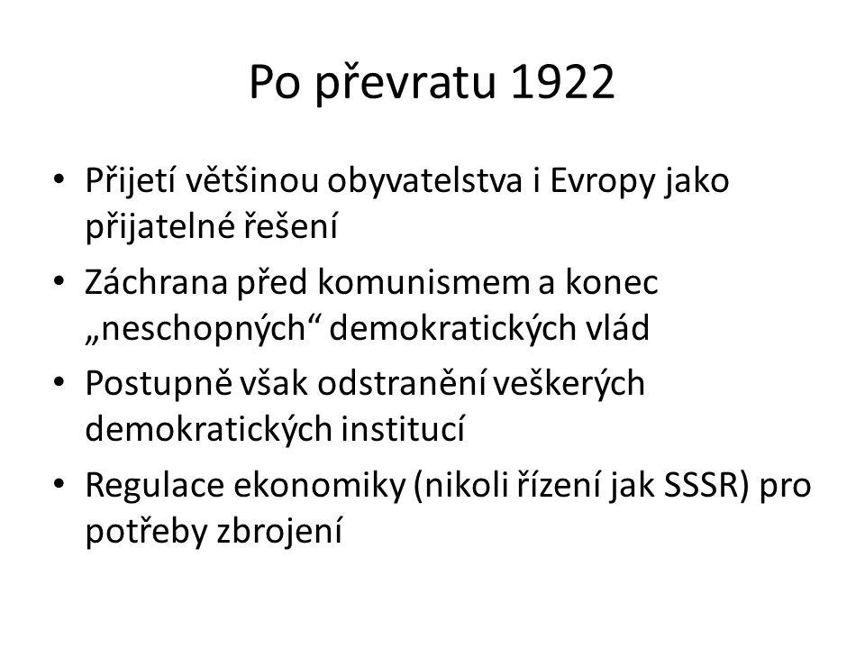 """Po převratu 1922 Přijetí většinou obyvatelstva i Evropy jako přijatelné řešení Záchrana před komunismem a konec """"neschopných"""" demokratických vlád Post"""