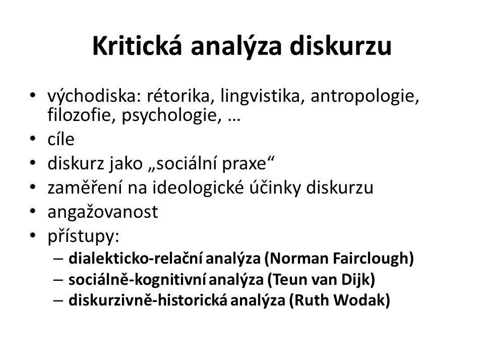 """Kritická analýza diskurzu východiska: rétorika, lingvistika, antropologie, filozofie, psychologie, … cíle diskurz jako """"sociální praxe zaměření na ideologické účinky diskurzu angažovanost přístupy: – dialekticko-relační analýza (Norman Fairclough) – sociálně-kognitivní analýza (Teun van Dijk) – diskurzivně-historická analýza (Ruth Wodak)"""
