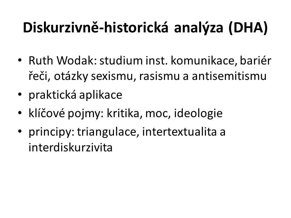 Diskurzivně-historická analýza (DHA) Ruth Wodak: studium inst.