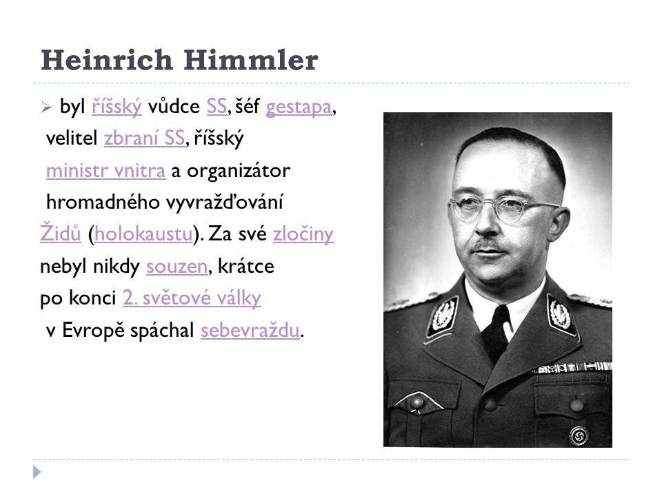 Heinrich Himmler  byl říšský vůdce SS, šéf gestapa,říšskýSSgestapa velitel zbraní SS, říšskýzbraní SS ministr vnitra a organizátorministr vnitra hrom