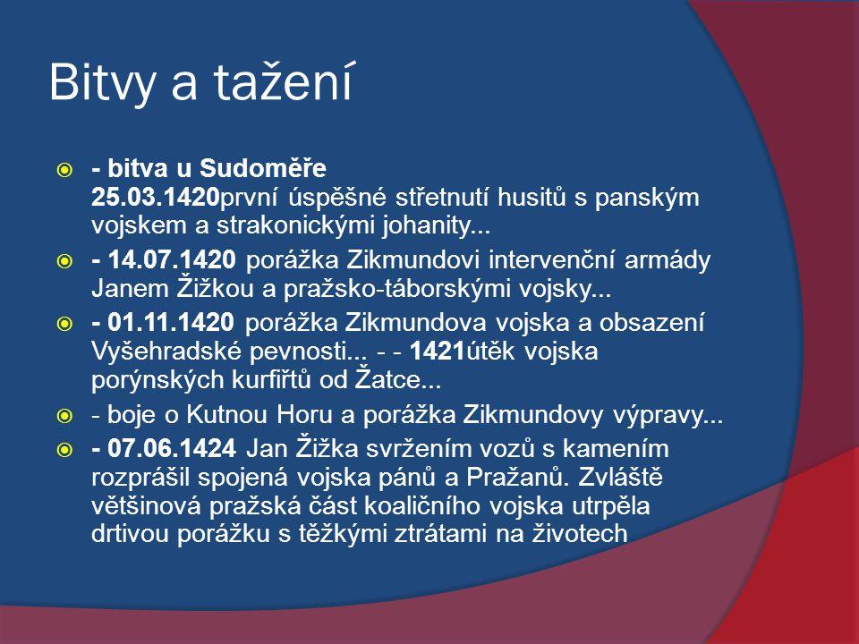 Bitvy a tažení  - bitva u Sudoměře 25.03.1420první úspěšné střetnutí husitů s panským vojskem a strakonickými johanity...  - 14.07.1420 porážka Zikm