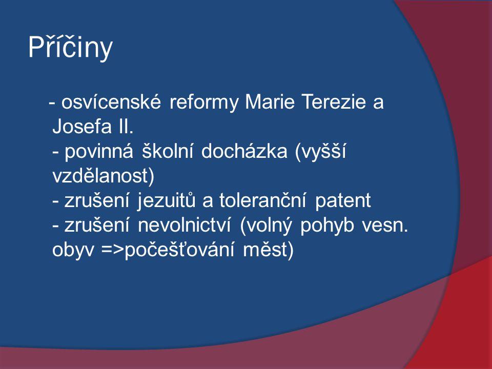 Příčiny - osvícenské reformy Marie Terezie a Josefa II. - povinná školní docházka (vyšší vzdělanost) - zrušení jezuitů a toleranční patent - zrušení n