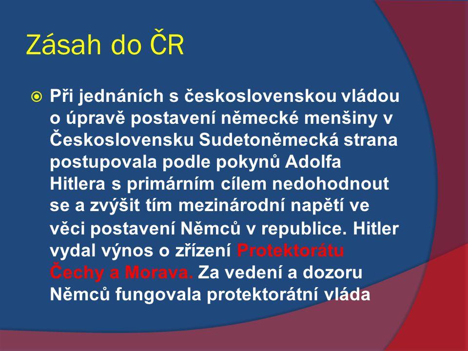 Zásah do ČR  Při jednáních s československou vládou o úpravě postavení německé menšiny v Československu Sudetoněmecká strana postupovala podle pokynů