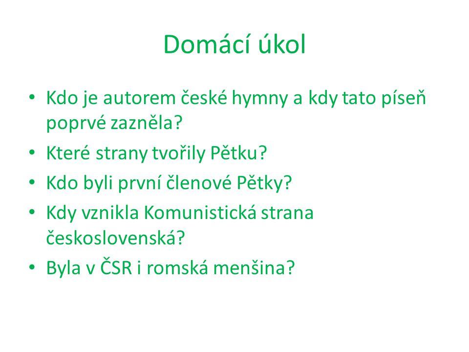 Domácí úkol Kdo je autorem české hymny a kdy tato píseň poprvé zazněla.