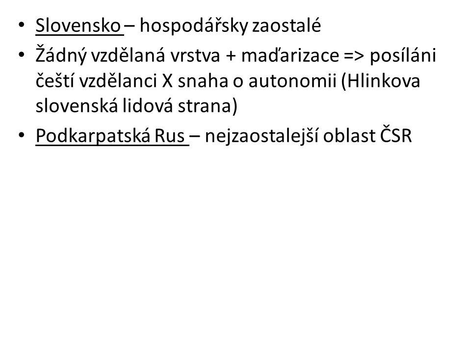 Slovensko – hospodářsky zaostalé Žádný vzdělaná vrstva + maďarizace => posíláni čeští vzdělanci X snaha o autonomii (Hlinkova slovenská lidová strana) Podkarpatská Rus – nejzaostalejší oblast ČSR