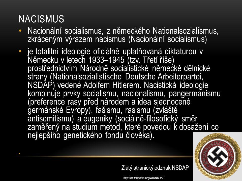NACISMUS Nacionální socialismus, z německého Nationalsozialismus, zkráceným výrazem nacismus (Nacionální socialismus) je totalitní ideologie oficiálně uplatňovaná diktaturou v Německu v letech 1933–1945 (tzv.