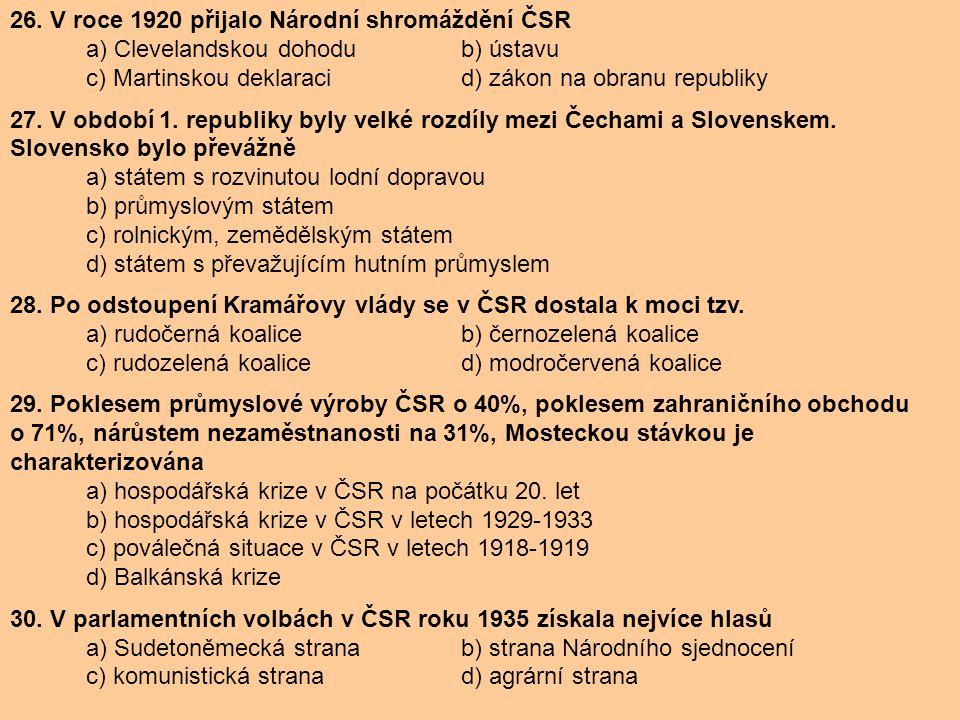26. V roce 1920 přijalo Národní shromáždění ČSR a) Clevelandskou dohodu b) ústavu c) Martinskou deklaracid) zákon na obranu republiky 27. V období 1.