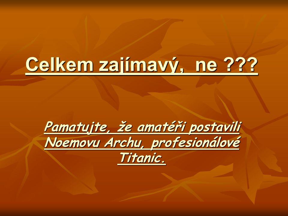 Celkem zajímavý, ne ??? Pamatujte, že amatéři postavili Noemovu Archu, profesionálové Titanic.
