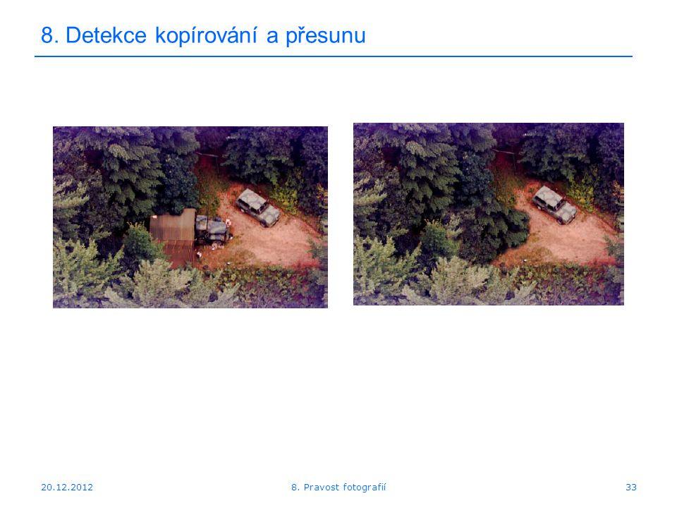 20.12.201233 8. Detekce kopírování a přesunu 8. Pravost fotografií