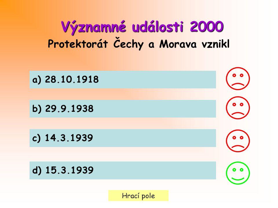 Hrací pole Významné události2000 Významné události 2000 Protektorát Čechy a Morava vznikl a) 28.10.1918 b) 29.9.1938 c) 14.3.1939 d) 15.3.1939