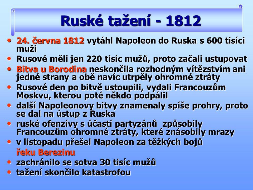 24. června 1812 vytáhl Napoleon do Ruska s 600 tisíci muži 24. června 1812 vytáhl Napoleon do Ruska s 600 tisíci muži Rusové měli jen 220 tisíc mužů,