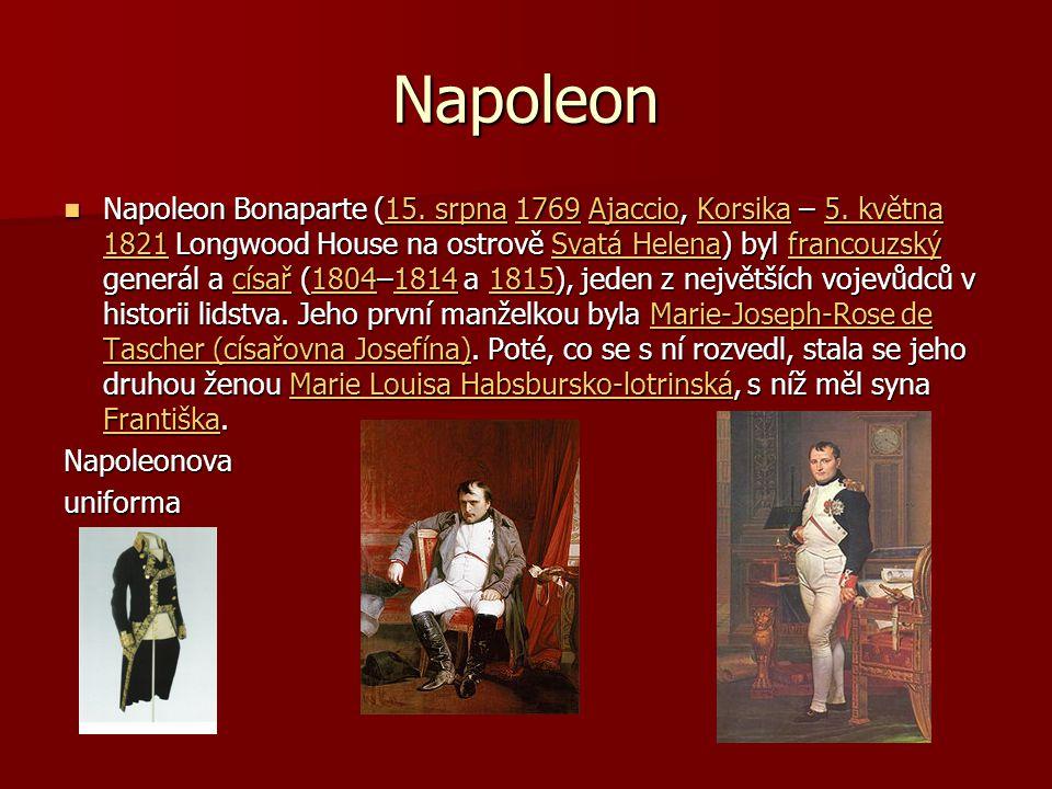 Napoleon Napoleon Bonaparte (15. srpna 1769 Ajaccio, Korsika – 5. května 1821 Longwood House na ostrově Svatá Helena) byl francouzský generál a císař