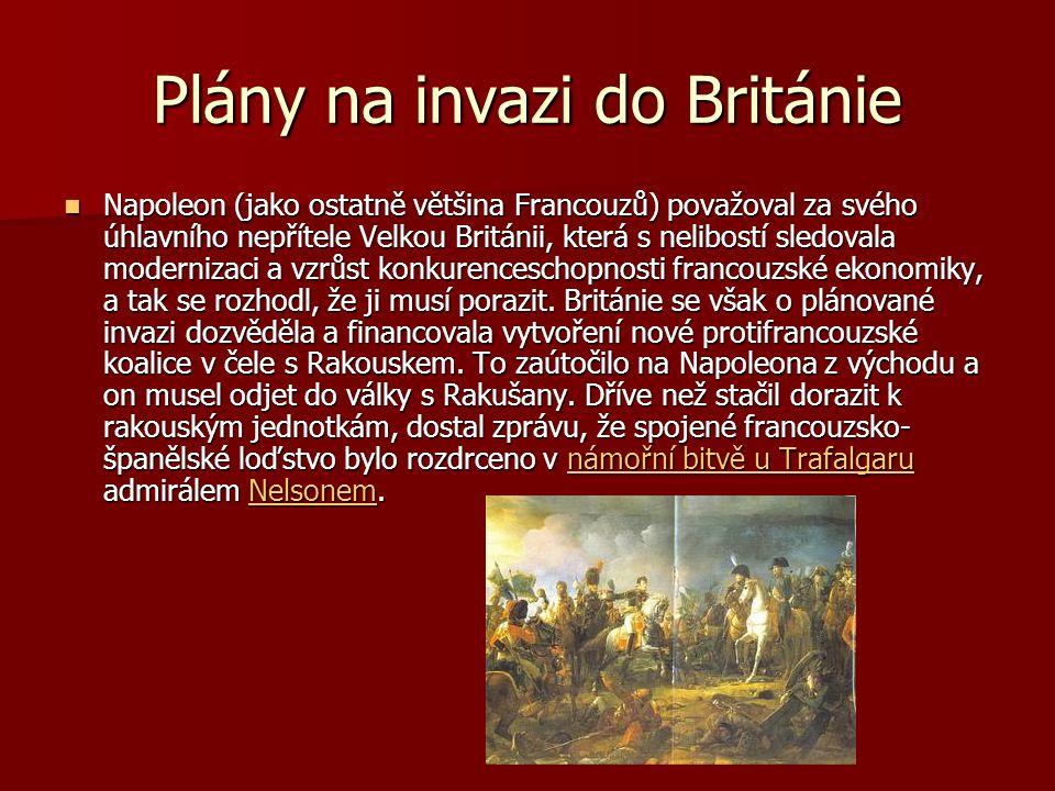 Plány na invazi do Británie Napoleon (jako ostatně většina Francouzů) považoval za svého úhlavního nepřítele Velkou Británii, která s nelibostí sledov