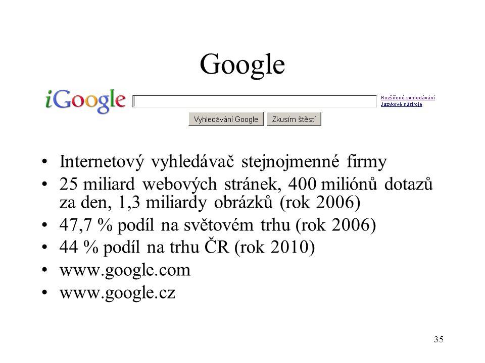 35 Google Internetový vyhledávač stejnojmenné firmy 25 miliard webových stránek, 400 miliónů dotazů za den, 1,3 miliardy obrázků (rok 2006) 47,7 % podíl na světovém trhu (rok 2006) 44 % podíl na trhu ČR (rok 2010) www.google.com www.google.cz