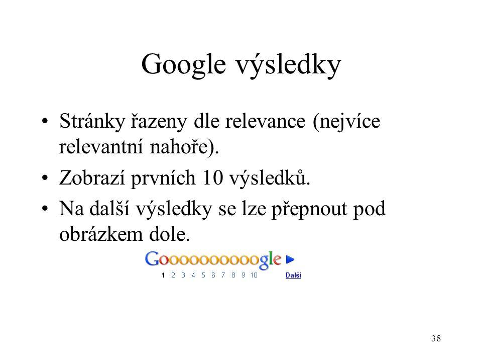 38 Google výsledky Stránky řazeny dle relevance (nejvíce relevantní nahoře).