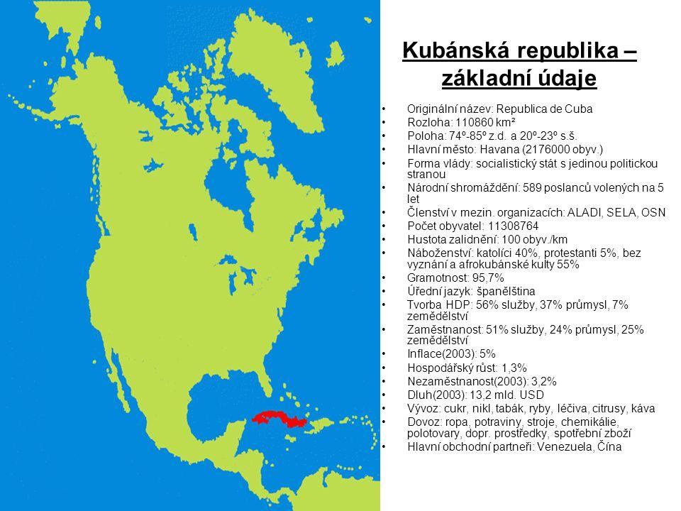 Kubánská republika – základní údaje Originální název: Republica de Cuba Rozloha: 110860 km² Poloha: 74º-85º z.d. a 20º-23º s.š. Hlavní město: Havana (
