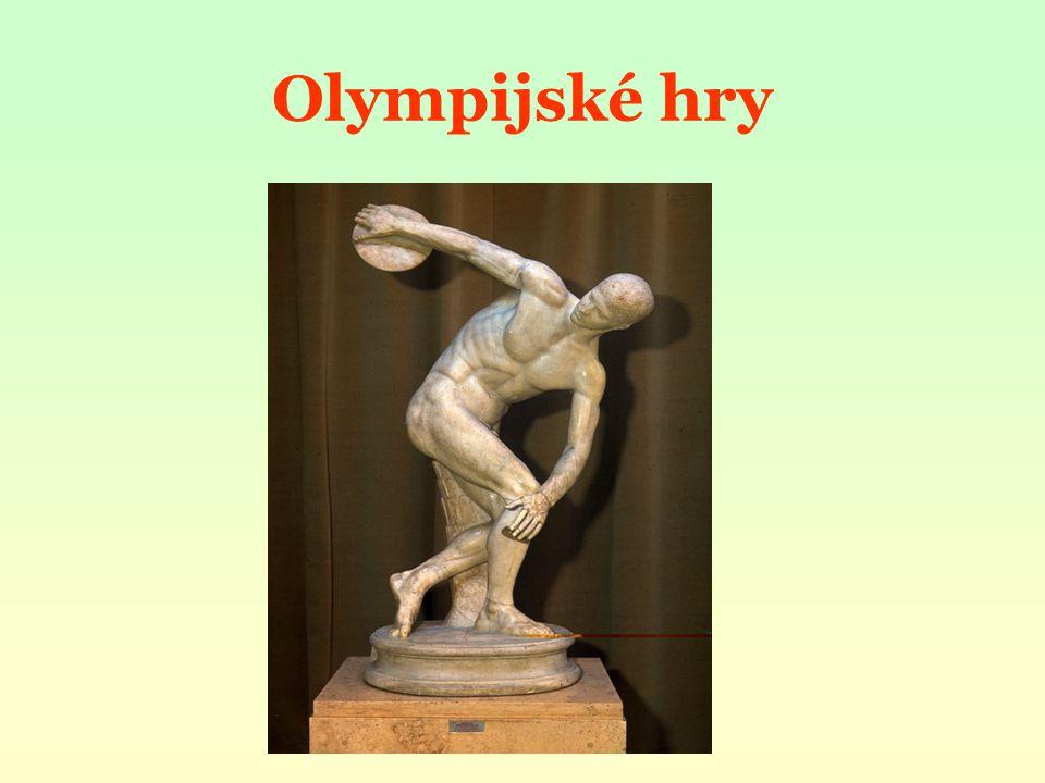 oslava boha Dia Olympia - asi 260 km na jih od Athén kultovní místo, nejposvátnější kousek půdy počátky her spojovány s bájným hrdinou Héraklem účast - každý svobodný Řek