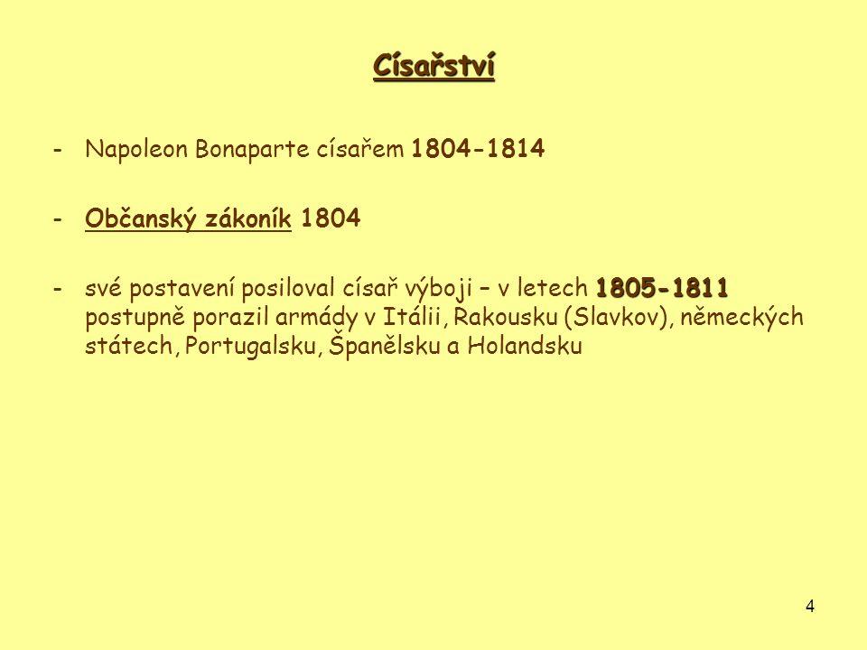4 Císařství -Napoleon Bonaparte císařem 1804-1814 -Občanský zákoník 1804 1805-1811 -své postavení posiloval císař výboji – v letech 1805-1811 postupně
