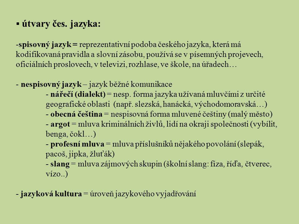  útvary čes. jazyka: -spisovný jazyk = reprezentativní podoba českého jazyka, která má kodifikovaná pravidla a slovní zásobu, používá se v písemných