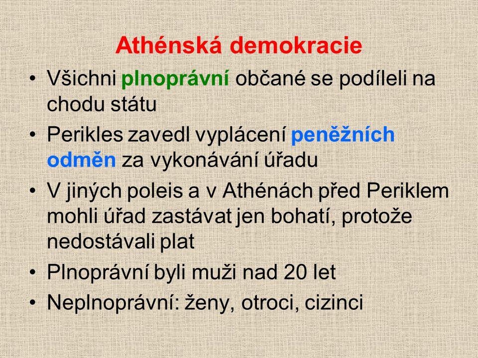 Athénská demokracie Všichni plnoprávní občané se podíleli na chodu státu Perikles zavedl vyplácení peněžních odměn za vykonávání úřadu V jiných poleis