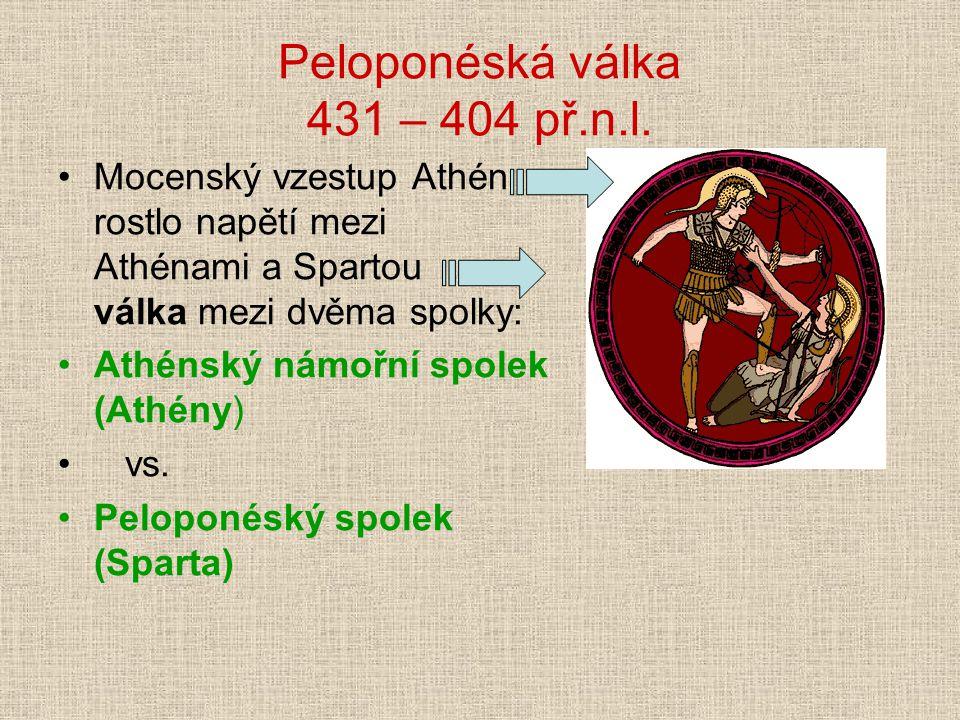 Peloponéská válka 431 – 404 př.n.l. Mocenský vzestup Athén rostlo napětí mezi Athénami a Spartou válka mezi dvěma spolky: Athénský námořní spolek (Ath