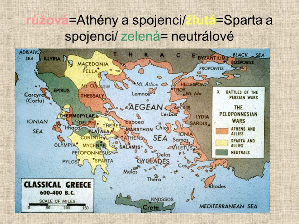 růžová=Athény a spojenci/žlutá=Sparta a spojenci/ zelená= neutrálové