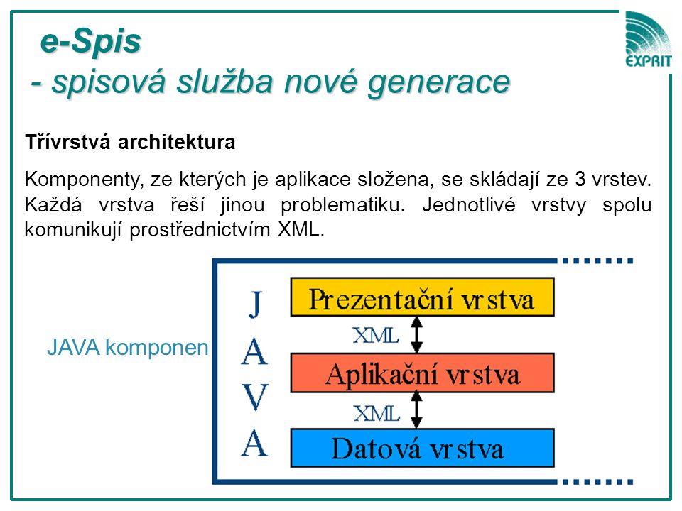 Třívrstvá architektura Komponenty, ze kterých je aplikace složena, se skládají ze 3 vrstev. Každá vrstva řeší jinou problematiku. Jednotlivé vrstvy sp