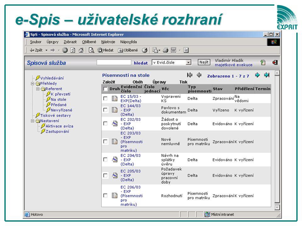 e-Spis – uživatelské rozhraní e-Spis – uživatelské rozhraní