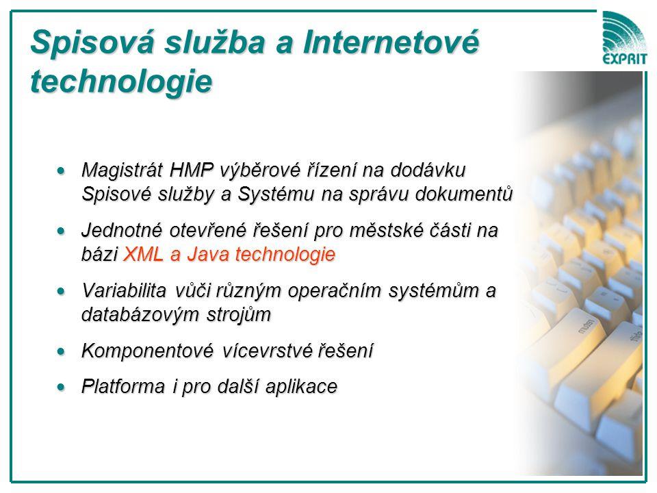 Magistrát HMP výběrové řízení  Existující nabídka na trhu:  Exprit, Gordic, Plzeňský holding, PVT, Triada, Vera,… (abecedně) - nesplňovala kritéria zadání  EXPRIT zvítězil s kompletně novým řešením e-Spis na bázi technologie XQW firmy CORPUS  Systém XQW je určen pro vývoj a provoz JAVA a XML aplikací  Součástí dodávky komponenta XDE – databázově nezávislá nadstavba realizující funkce s dokumenty