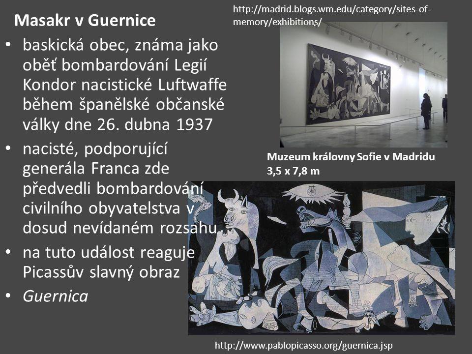 Masakr v Guernice baskická obec, známa jako oběť bombardování Legií Kondor nacistické Luftwaffe během španělské občanské války dne 26.