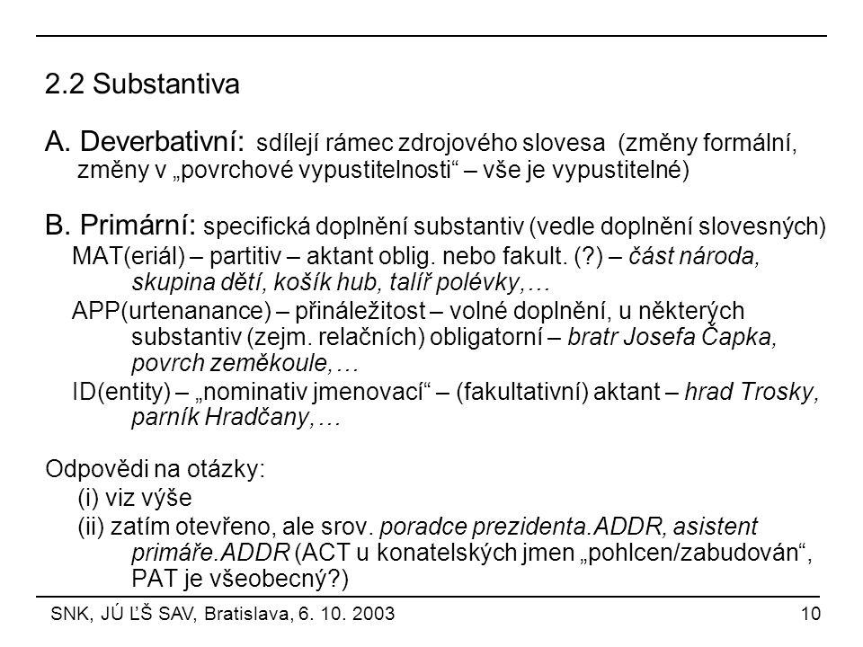 """2.2 Substantiva A. Deverbativní: sdílejí rámec zdrojového slovesa (změny formální, změny v """"povrchové vypustitelnosti"""" – vše je vypustitelné) B. Primá"""