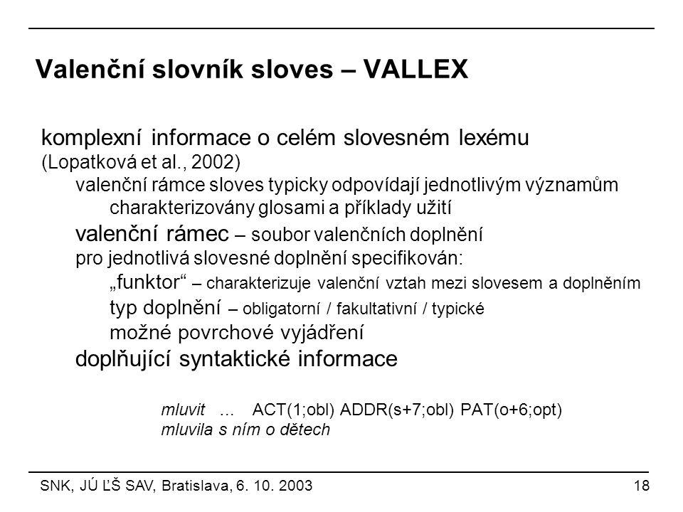 Valenční slovník sloves – VALLEX komplexní informace o celém slovesném lexému (Lopatková et al., 2002) valenční rámce sloves typicky odpovídají jednot