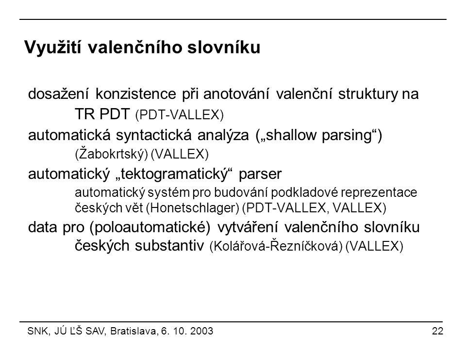 """Využití valenčního slovníku dosažení konzistence při anotování valenční struktury na TR PDT (PDT-VALLEX) automatická syntactická analýza (""""shallow par"""